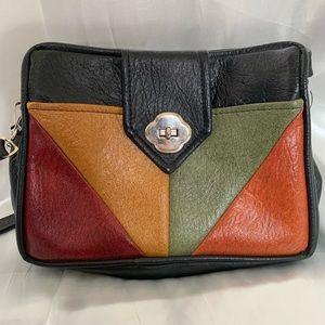 Vintage multi-colored leather satchel